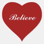 Crea en su corazón pegatina corazón personalizadas