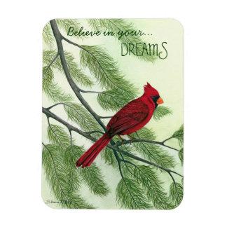 Crea en sus sueños--Imán cardinal rojo brillante Imán De Vinilo