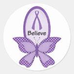 Crea la cinta púrpura de la conciencia pegatinas redondas