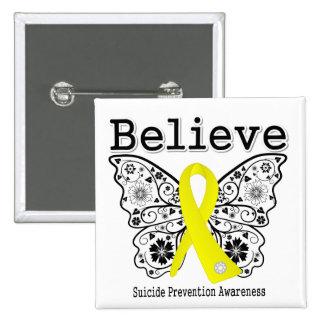 Crea la conciencia de la prevención del suicidio pin cuadrado