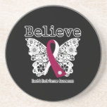 Crea - la mariposa del cáncer de cabeza y cuello posavasos diseño