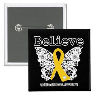 Crea - la mariposa del cáncer de la niñez pin cuadrada 5 cm