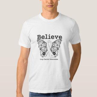 Crea - la mariposa del cáncer de pulmón camisas