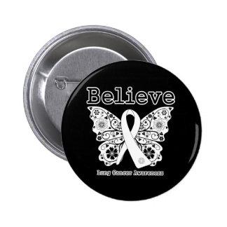 Crea - la mariposa del cáncer de pulmón pin redondo de 2 pulgadas