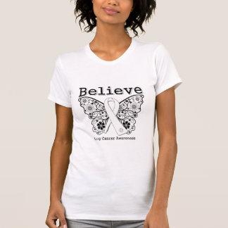 Crea - la mariposa del cáncer de pulmón camiseta