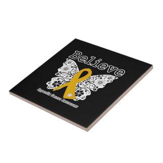 Crea - la mariposa del cáncer del apéndice teja cerámica