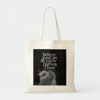 Crea que usted puede cita de motivación del gato bolsas lienzo