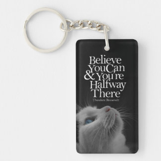 Crea que usted puede cita de motivación del gato llaveros