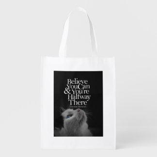 Crea que usted puede cita de motivación del gato bolsas para la compra