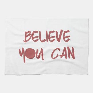 Crea que usted puede gimnasio de motivación del toallas de mano