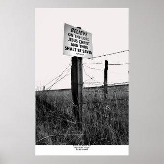 Crea y alambre de púas, carretera 97, Oregon Póster