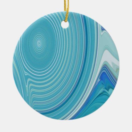 Creación abstracta adorno navideño redondo de cerámica