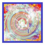 Creación colorida brillante de la fiesta de invitación 13,3 cm x 13,3cm