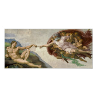 Creación de Adán - pintado por Miguel Ángel Póster