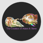 Creación de Adán y de Steve Pegatina Redonda