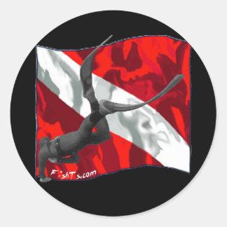 Creaciones de la bandera de DiverDown Pegatina Redonda