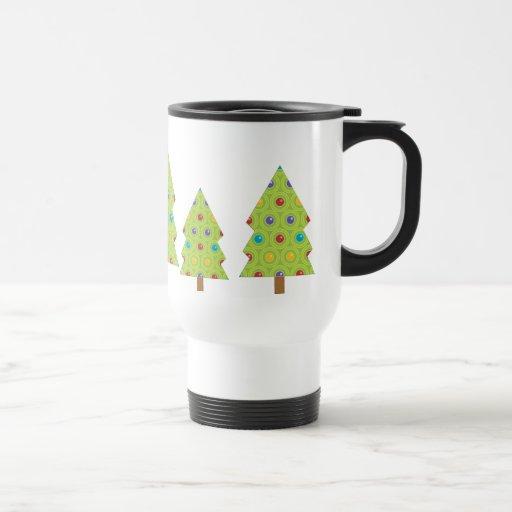 Creaciones festivas del árbol de navidad taza de viaje