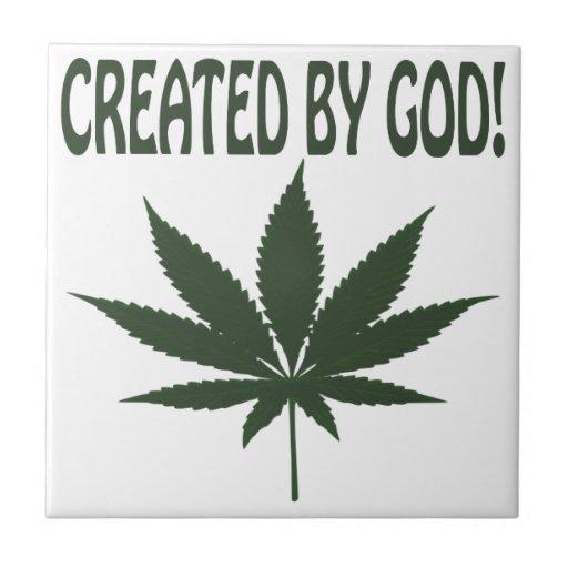 Creado por dios azulejo cuadrado pequeño