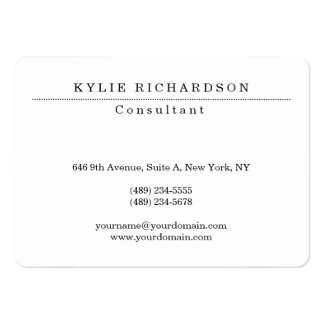 Creador profesional blanco clásico elegante tarjetas de visita grandes