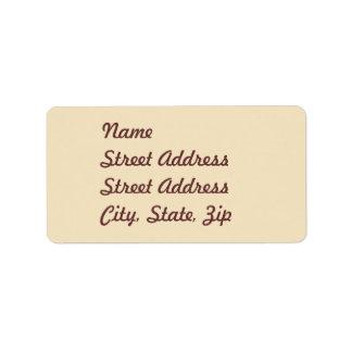 Cream  Address Sticker Label