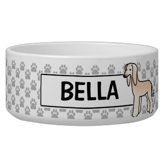 Cream Afghan Hound Cartoon Dog Bowl