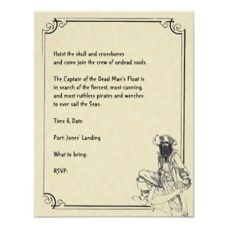 Cream and Black Ahoy! Pirate Halloween Party 4.25x5.5 Paper Invitation Card