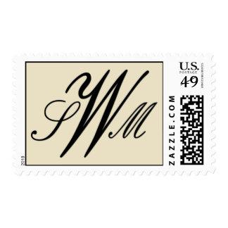 Cream and black custom monogram postage