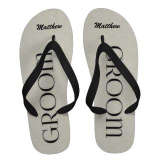 Cream and Black Groom s Wedding Slippers Flip-Flops