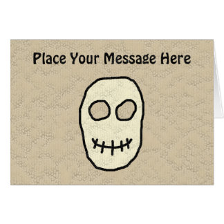 Cream and Black Skull. Primitive. Greeting Card