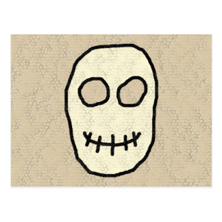 Cream and Black Skull. Primitive. Postcard