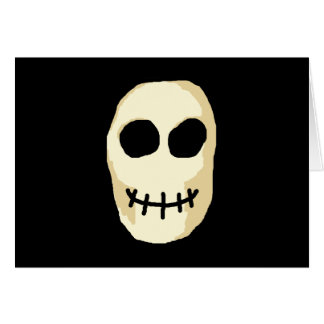 Cream and Black Skull. Primitive Style. Card