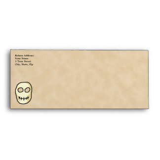 Cream and Black Skull. Primitive Style. Envelope
