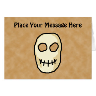 Cream and Black Skull. Primitive Style. Greeting Card