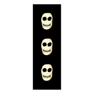 Cream and Black Skull. Primitive Style. Mini Business Card