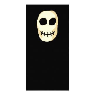 Cream and Black Skull Primitive Style Custom Photo Card