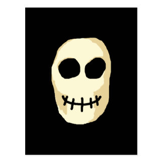 Cream and Black Skull. Primitive Style. Postcard