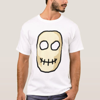 Cream and Black Skull. Primitive Style. T-Shirt