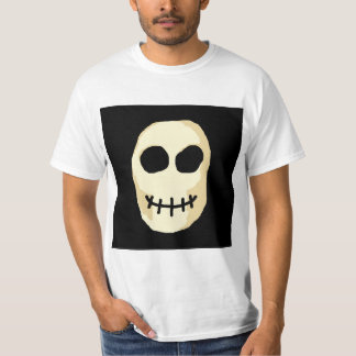 Cream and Black Skull. Primitive Style. T-Shirt