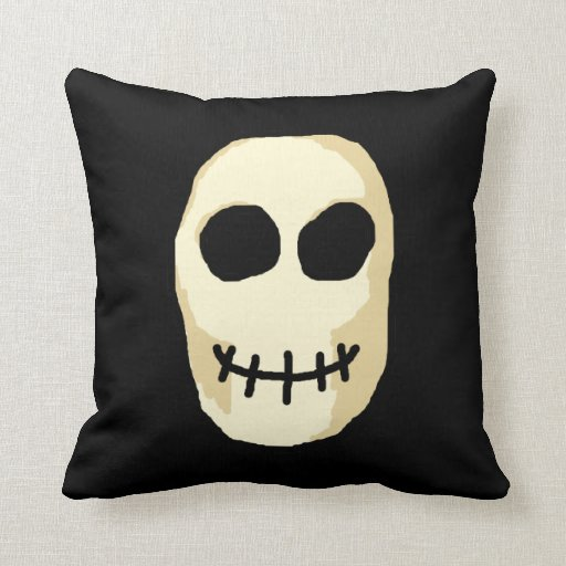 Cream and Black Skull. Throw Pillow Zazzle
