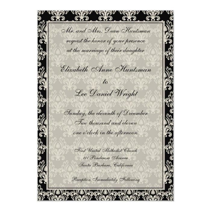 Cream and Black Vintage Damask Lace Wedding Invita Card