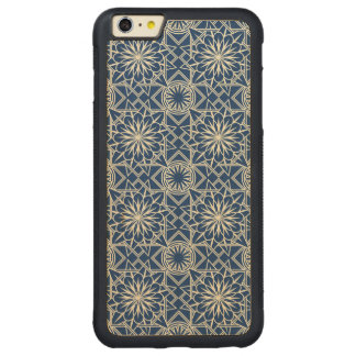 Cream and Blue Art Deco Floral Pattern Carved® Maple iPhone 6 Plus Bumper Case