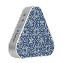 Cream and Blue Art Deco Floral Pattern Speaker