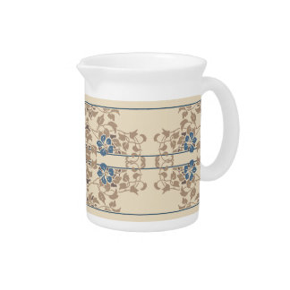 Cream and brown art nouveau floral pattern drink pitchers