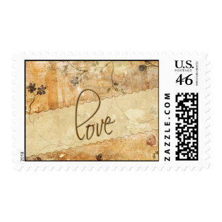 Cream and brown Love stamp