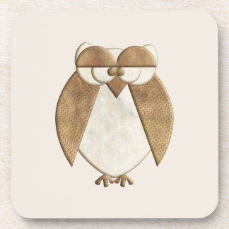 Cream and Brown Owl Beverage Coaster