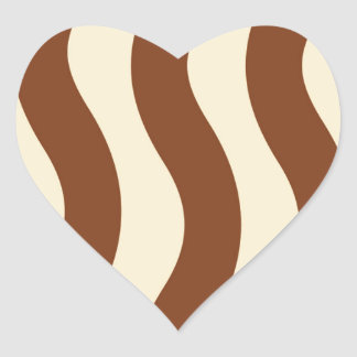 Cream and Brown Wave Stripes Heart Sticker