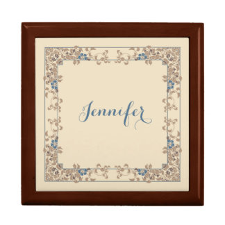 Cream and brown with blue flowers border gift box