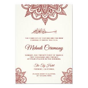 Cream And Burgundy Islamic Muslim Mehndi Ceremony Invitation