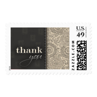 Cream and charcoal gray thank you postage