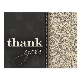 Cream and charcoal gray thank you postcard